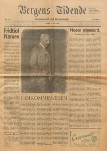 Fremsiden av Bergens Tidende onsdag 14. mai 1930, dagen etter Nansens dødsfall. Da var det blant annet hans arbeid for flyktninger som sto i fokus.