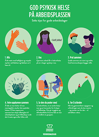 Seks tips for god psykisk helse på arbeidsplassen.